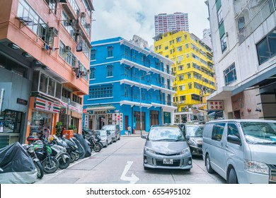 WAN CHAI, HONG KONG, JUNE 05 : The 1 Blue House is very old building in Wan Chai district, Hong Kong on June 05 2017