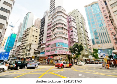Wan Chai Hong Kong - November 24, 2018 : Residential buildings in Wan Chai. Hong Kong is one of the most densely populated places in the world.