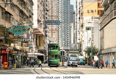 Wan Chai, Hong Kong-March 16, 2018: Hong Kong trams or Ding Ding. The tram system is one of the earliest public transport, having opened in 1904. Very popular with tourists.
