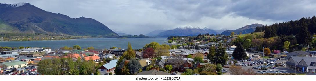 Wanaka, New Zealand - October 09, 2018: Panorama of Wanaka Town, Lake & Mountains in Spring. Central Otago New Zealand.