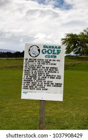 Wanaka, New Zealand: October 21, 2015: Tarras Golf Club is a field on a sheep farm where people pay into an honesty box to play a game of golf.