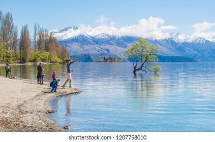 Wanaka, New Zealand -September-27-2017 : New Zealand peoples enjoying with the beautiful view of lake Wanaka.