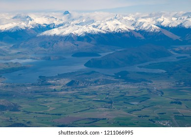 Wanaka on New Zealand's South Island, aerial view from commercial airplane