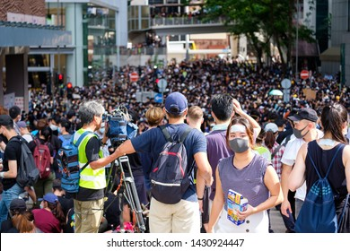 Wanchai, HONG KONG - June 21, 2019: Protest at Wanchai Hong Kong Police Headquarter. Protestors remembering the dead of protestor on June 15 2019.
