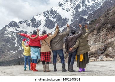 Wanderlust wonderful experience with great holiday spot. unidentified friends family enjoying the lovely snow covered mountain in Gangtok, Sikkim, Zero point Yume Samdong Lachung India jammu kashmir