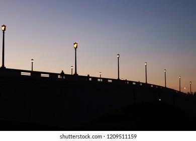 Wandsworth bridge at sunset, London.