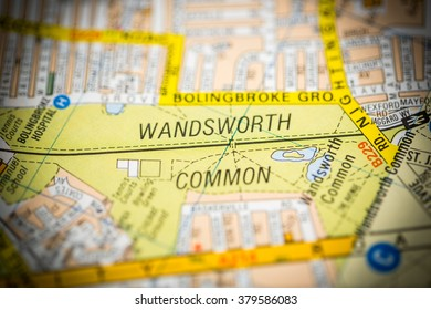 Wandsworth Common. London, UK map.