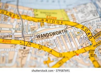 Wandsworth. London, UK map.