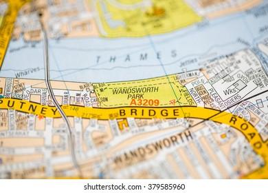 Wandsworth Park. London, UK map.