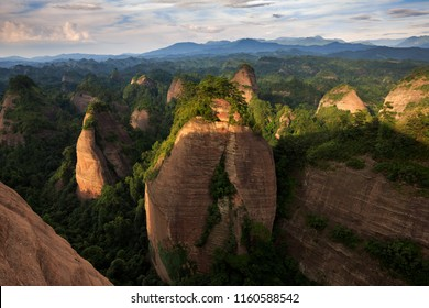 Wanfoshan Danxia Landform, Mount Wanfo. Dense cone-shaped peak clusters and forests. Tongdao Dong Nationality Autonomous County, Hunan Province China. UNESCO World Heritage Location, Exotic Red Danxia