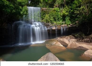 Wang Nam Khiao Waterfalls in deep forest on Koh Kood, Trat, Thailand