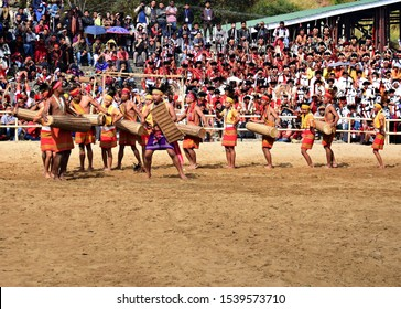 """""""Wangala dance of Garo tribe, performed on the occasion of 19th Hornbill festival, held at Kisama heritage village, near Kohima town, Nagaland, Northeast India on 3rd December 2018"""""""