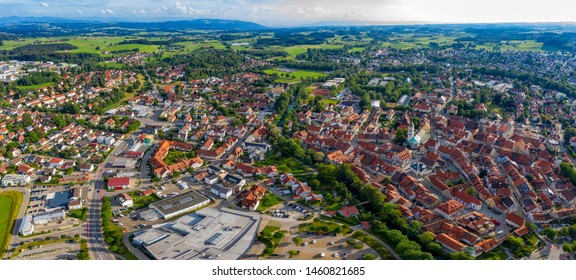 WANGEN IM ALLGAU, GERMANY - July 21.2019: Panoramic aerial view from drone to the ancient historical medieval old town. Wangen, Germany