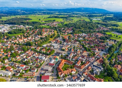 WANGEN IM ALLGAU, GERMANY - July 21.2019: Aerial view from drone to the ancient historic medieval old town