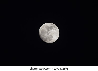 Waning Gibbous Moon on night sky