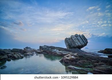 Wanli Fist Stone at Sunrise - Famous natural spot of Wanli District, New Taipei, Taiwan.