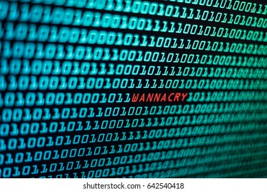 The wannacry and binary code concept on the desktop screen. the wannacry and ransomware concept background.