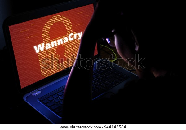 WannaCry ransomware attack on notebook screen,cyber attack internet security concept