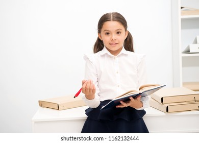 Want to apply new school program. Girl holds pad pen looking for volunteers. Schoolgirl studying include social initiatives. Kid school uniform happy face ask you if you want join school event.