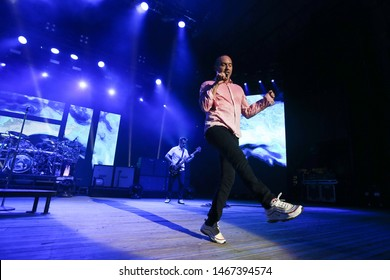 "WANTAGH, NY - JUL 26: Doug ""SA"" Martinez of 311 performs in concert on July 26, 2019 at Northwell Health at Jones Beach Theater in Wantagh, New York."