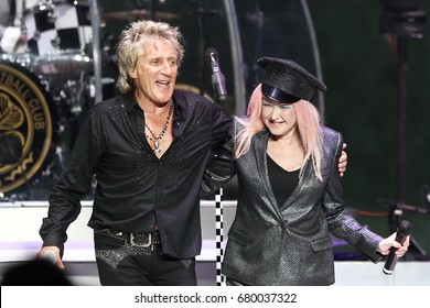 WANTAGH, NY-JUL 18: Singer Rod Stewart and Cyndi Lauper perform in concert at Jones Beach Theater on July 18, 2017 in Wantagh, New York.