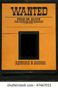 Wanted dead or alive old poster with a frame for a head or text. American wild wild west.