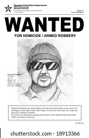 """A """"Wanted"""" poster with a police sketch. Town name and all other information is made up. The man in the drawing is also made up."""