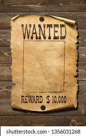 Wanted wild west poster on old wood background