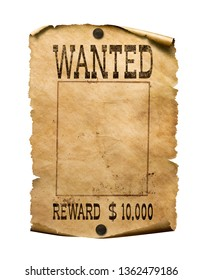 Wanted wild west poster on white background