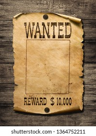 Wanted wild west poster on wood background