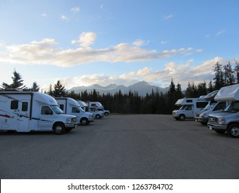 Wapiti Campground, Jasper, Alberta, Canada on 19.09.2018: RV's on Wapiti Campground close to Jasper in the Canadian Rocky Mountains