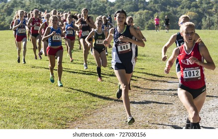 Wappingers falls, New York, USA - 23 September 2017: The lead pack of the varsity high school girls cross country race at the Bowdoin Park Cross Country Invitational 400 meters into the 5K race.
