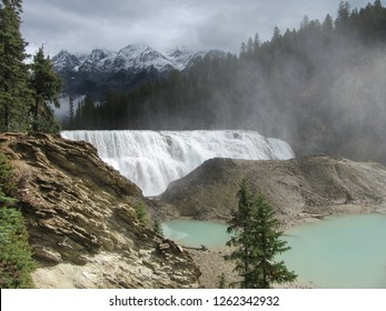 Wapta Falls, British Columbia on 13.09.2018: Natural, Touristic Sight close to Trans-Canada Highway in British Columbia