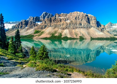 Waputik Ranges Reflection on Bow Lake, Banff, Rocky Mountain, Canada
