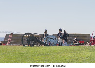 War of 1812 Re-Enactors/July 2, 2016 Baltimore Maryland - A group of War of 1812 reenactors participating in events at Baltimore's Fort McHenry.