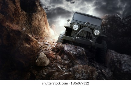 Suratthani/Thailand-April 30, 2019:World War 2 era US army jeep (Willys Jeep) goes on the mountain way.