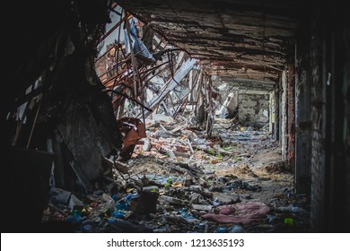 War actions aftermath, destructed building interior, Ukraine and Donbass conflict, former Airport area near city of Donetsk