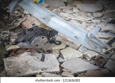 War actions aftermath, dropped broken gas mask, Ukraine and Donbass conflict, former Airport area near city of Donetsk