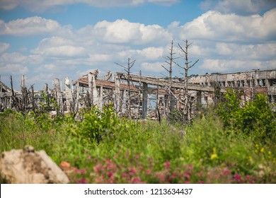 War actions aftermath, Ukraine and Donbass conflict, ruins of shelled airport terminal near city of Donetsk
