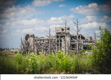 War actions aftermath, Ukraine and Donbass conflict, ruins of former Airport near city of Donetsk
