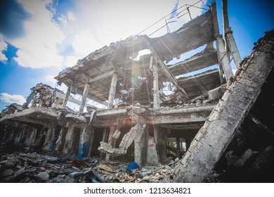 War actions aftermath, Ukraine and Donbass conflict, terminal ruins of former airport near city of Donetsk