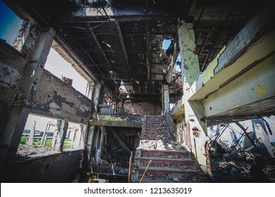 War actions aftermath, Ukraine and Donbass conflict, interior somewhere in shelled Airport area near city of Donetsk