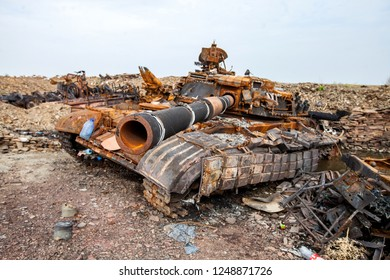 War actions aftermath, Ukraine and Donbass conflict, destroyed tank of the Ukrainian armed forces