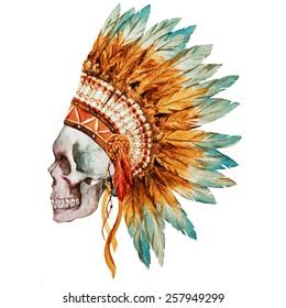 war bonnet, watercolor, skull, feathers