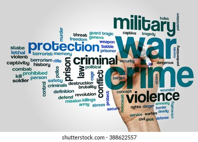 War crime concept word cloud background