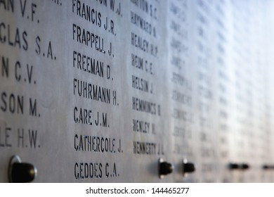 War Dead Names on Marble Wall