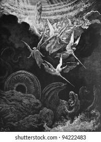 The war with the dragon. 1) Le Sainte Bible: Traduction nouvelle selon la Vulgate par Mm. J.-J. Bourasse et P. Janvier. Tours: Alfred Mame et Fils. 2) 1866 3) France 4) Gustave Doré