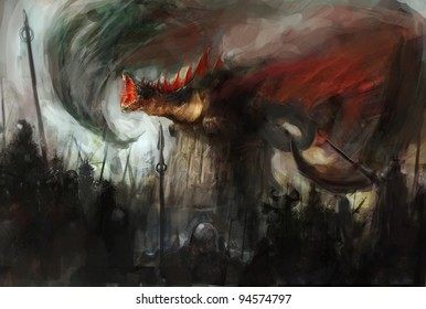 War with the dragon on castle