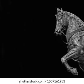 War horse from Bartolomeo Colleoni equestrian monument in Venice, cast by renaissance artist Verrocchio in the 15th century (Black and White with copy space)