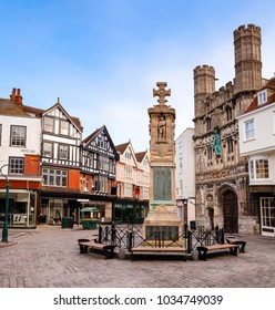 The War Memorial and Cathedral entrance at Buttermarket square in the morning. Canterbury is a historic English cathedral city and UNESCO World Heritage Site